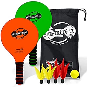 Jazzminton Paddle Ball Game with Carry Bag - Indoor Outdoor Toy - Play at The Beach Lawn or Backyard - 2 Wooden Racquets - 4 Shuttlecocks - 1 Ball