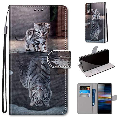 Sony Xperia L3 Hülle, SATURCASE Schön PU Lederhülle Magnetverschluss Brieftasche Kartenfächer Standfunktion Handschlaufe Handy Tasche Schutzhülle Handyhülle Hülle für Sony Xperia L3 (DK-5)