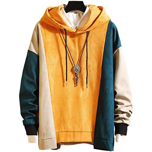 XIAOYAO Hoodie Herren Basic Kapuzenpullover Sweatjacke Pullover Sweatshirt (Gelb, 4XL)