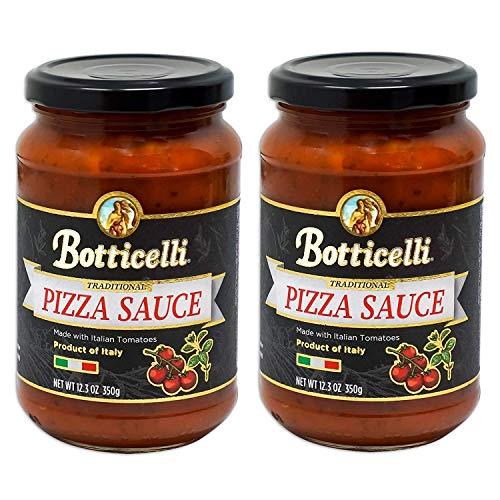 Botticelli Premium Italian Pizza Sauce for Authentic Italian Taste - (Pack of 2) - Made in Italy, Low Carb, Low Sugar, Keto-Friendly Premium Italian Pizza Sauce - 12.3oz