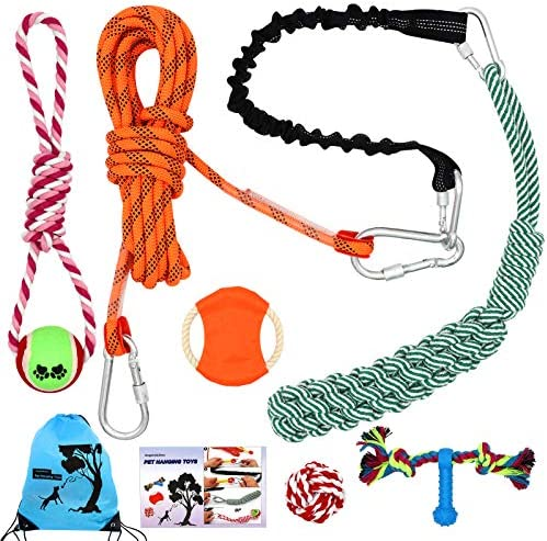 Rope Dog Toys Outdoors Angela Alex Hanging Bungee Dog Tug Toys Spring Pole for Dog Pitbull Exercise product image