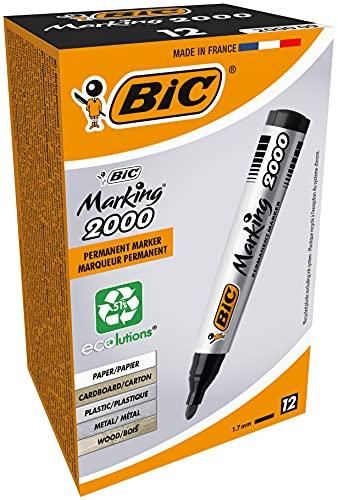 BIC Marking Rotuladores Permanentes, 2000 ECOlutions, Negro, Punta Media, Material Oficina, Caja de 12