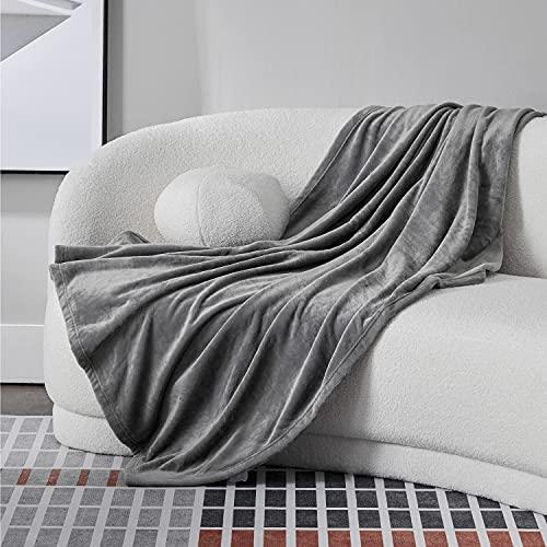 Bedsure 毛布 シングル ブランケット 冬用 140x200cm おしゃれ グレー 洗える 夏用 フランネル もうふ マイクロファイバー フリース 軽量 薄手