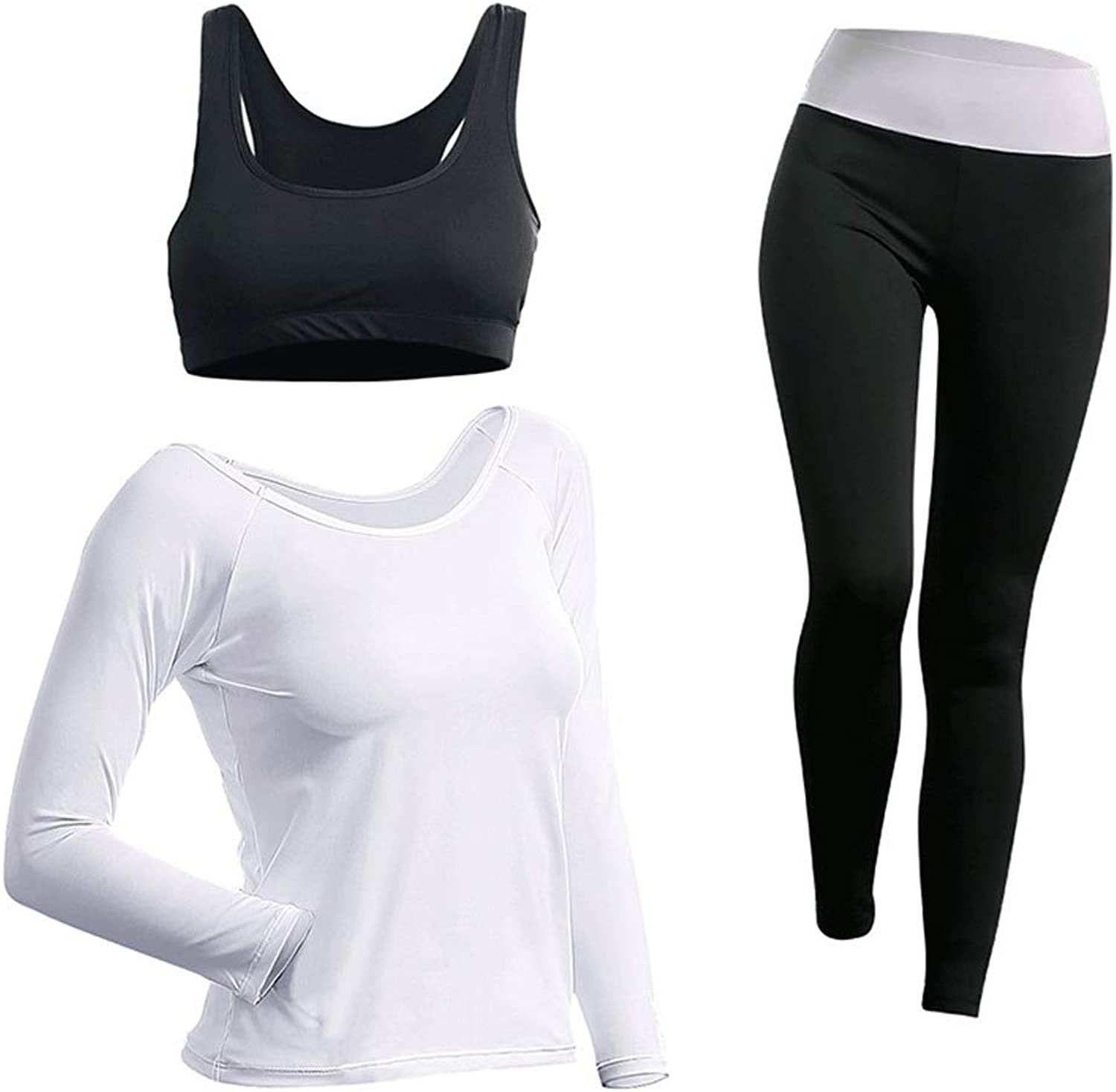 Sportswear Women's White Yoga Wear HighElastic Slim Breathable Gym QuickDrying Clothes ThreePiece Long Sleeve Outdoor Sportswear SXL (color   White, Size   M)
