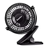 EasyAcc Mini Clip Fan Stroller Fan USB Desktop Fan 2 Speeds Quiet Cooling Table Fan 720° Rotation for Prams Pushchairs Strollers Buggies Offices-Black