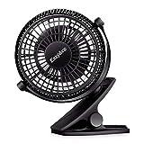 EasyAcc Mini Clip Fan Stroller Fan USB Desktop Fan 2 Speeds Quiet Cooling Table Fan 720° Rotation for Prams Pushchairs Strollers Buggies Offices-Black