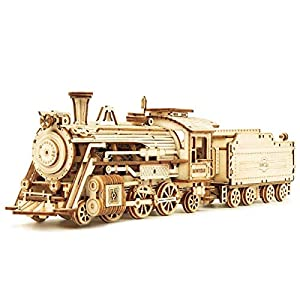 ROKR 3D Wooden Puzzle for Adults-Mechanical Train Model Kits-Brain Teaser Puzzles-Vehicle Building Kits-Unique Gift for Kids on Birthday/Christmas Day(1:80 Scale)(MC501-Prime Steam Express) by Rokr