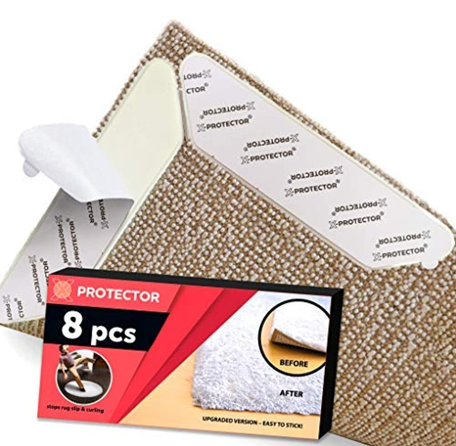 Rug Grippers X-PROTECTOR – NEW 8 pcs Anti Curling Rug Gripper – Rug Pad. Keeps Your Rug in Place & Corners Flat. Carpet Gripper Renewable Gripper Tape – Rug Tape. ORIGINAL BRAND - AVOID THE COPIES!