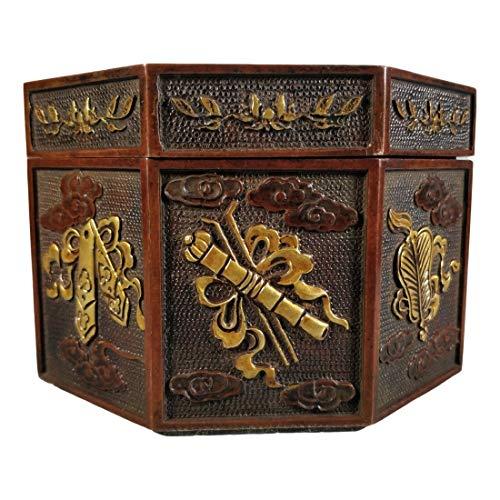 LAOJUNLU Una caja de bronce dorado con ocho tesoros en relieve de bronce antiguo colección de solitario chino tradicional joyería
