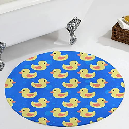 Veryday Alfombra redonda de pato amarillo, decorativa, para el dormitorio, para la puerta de casa, para la habitación de los niños, cocina, color blanco, 60 cm