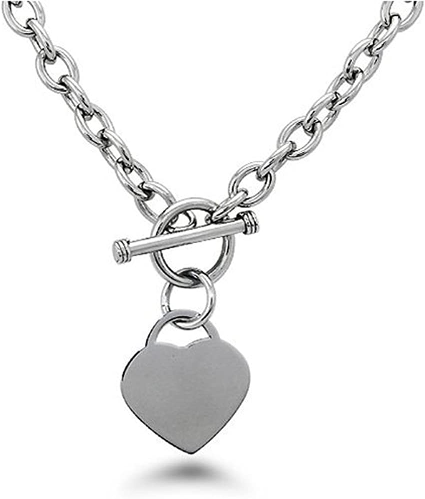 Noureda High Polished Stainless Steel Heart Charm Cable Chain Necklace with Toggle Clasp (Length: 18