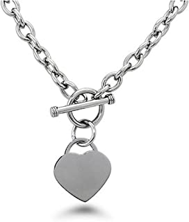 High Polished Stainless Steel Heart Charm Cable Chain Necklace with Toggle Clasp (Length: 18