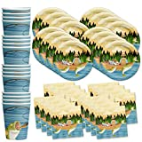 Gone Fishing Birthday Party Supplies Set Plates Napkins Cups Tableware Kit for 16...