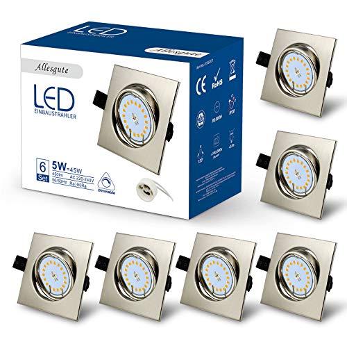 LED Einbaustrahler 230V Dimmbar GU10 5W LED Spots Set Neutralweiß Einbauleuchte Eckig Schwenkbar Einbauspots Mit 450lm Spot Ersetzt 45W 50W Halogen Deckenspots 6er Set