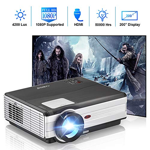 EUG Home Cinema LCD WiFi Bluetooth Projector 4200 Lumen Airplay/Miracast Wireless Video Projector HD 1080P Supported with HDMI VGA AV USB Aux Audio