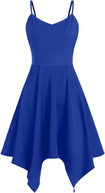 iQKA Womens Sunflower Print Mini Dress Plus Size Asymmetric Camis Dress Vestidos Summer Sling Beach Dress