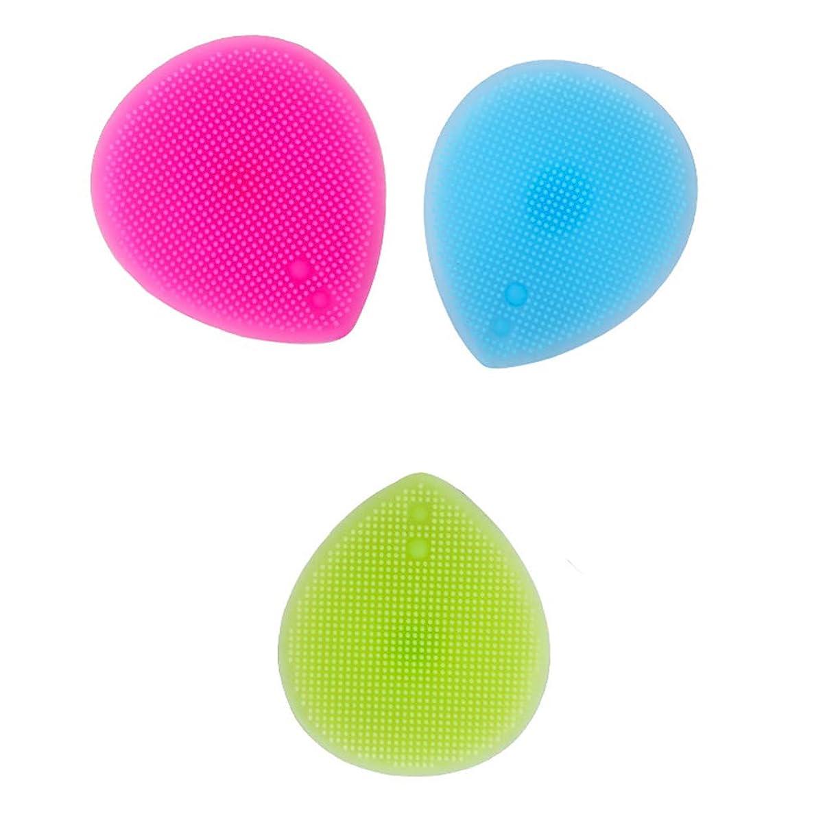 別に繰り返したリネンLurrose 3PCSシリコーンフェイシャルクレンジングブラシ手動フェイシャルマッサージブラシ女性用(ブルー+バラ色+グリーン)