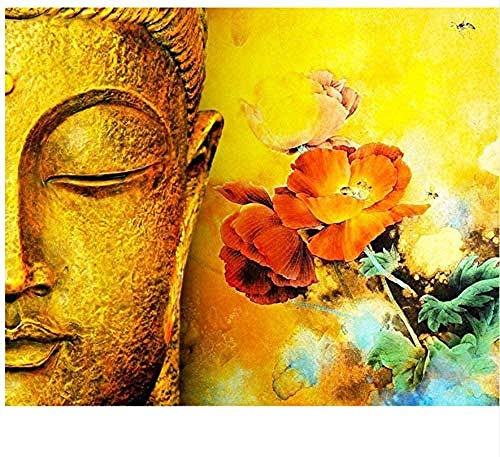 DIY Malen nach Zahlen Kits Leinwand Ölgemälde Set Erwachsene Anfänger mit Pinsel und Acrylpigment 40x50cm Rahmenlos Buddha Blume