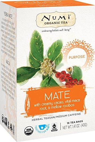 Numi Organic Tea Mate, 16 Count Box of Tea Bags (Pack of 6) Holistic Herbal Teasan (Packaging May Vary)