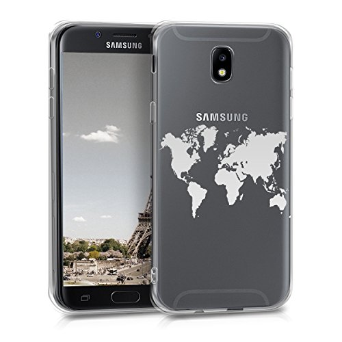 kwmobile Samsung Galaxy J5 (2017) DUOS Hülle - Handyhülle für Samsung Galaxy J5 (2017) DUOS - Handy Case in Travel Umriss Design Silber Transparent