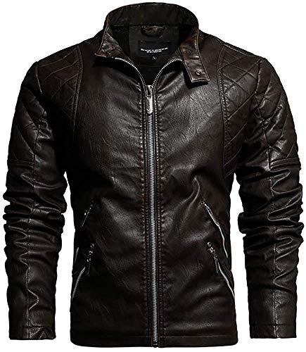 Giacca da moto da uomo in pelle con colletto e colletto - Marrone - X-Large