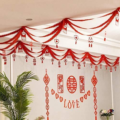 LEIXIN Muurstickers Nieuwjaar decoratieve garens huwelijk ruimteindeling pakketten huwelijk slaapkamer woonkamer woonkamer dakdecoratie huwelijk bruiloft slinger (kleur: B)