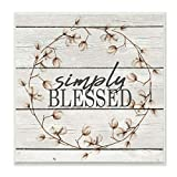 Stupell Industries Simply Blessed Flower Farm Rustic Wood Textured Word Design Wall Plaque, 12 x 12, Multi-Color