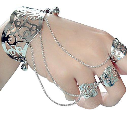 OULII - bracciale in argento, per donna o ragazza, con anelli e catenelle