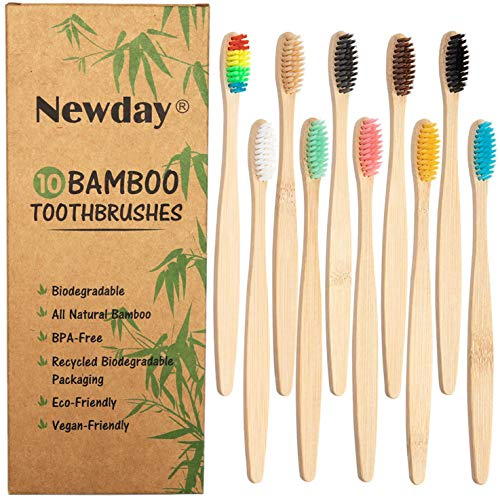 Newday 10-Pack Adults Eco-Friendly Natural Bamboo Charcoal Toothbrushes , B