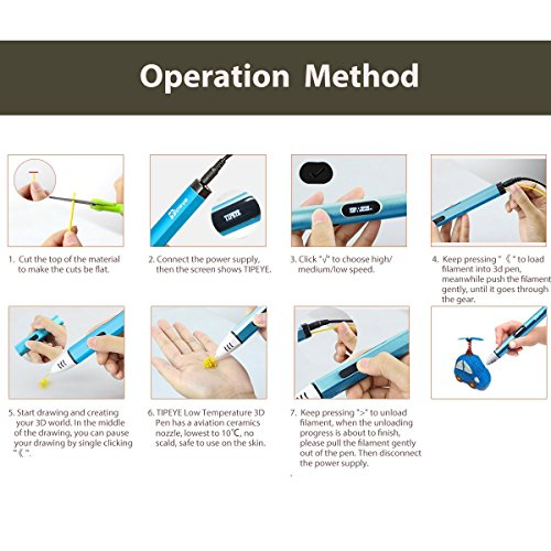 3D Stifte Set mit OLED Display, niedrige Temperatur 3D Pen, sicher für Kinder, Erwachsene und Bastler zu kritzeleien, basteln, malen und 3D drücken (nur kompatibel mit PCL Filament,nicht kompatibel mit PLA und ABS ) - 6