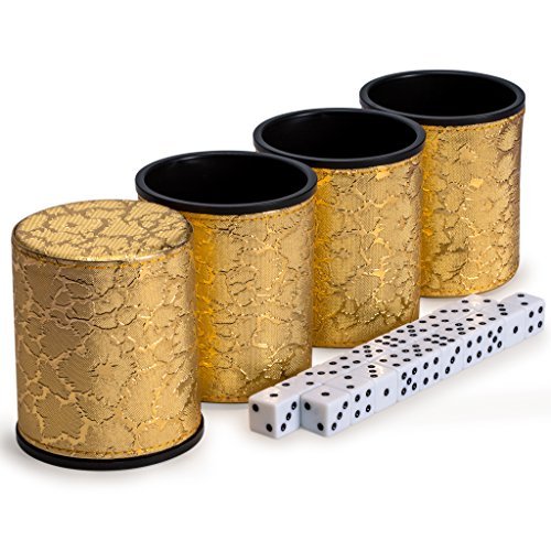Yellow Mountain Imports Liar's Dice Golden Cup Shaker Bluffing Game - 4 Cups with 20 (16mm) Dice