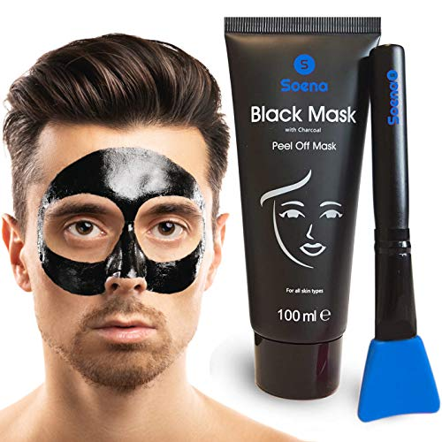 Das ORIGINAL - SOENA® for MEN Black Mask + MASKENPINSEL | XXL Tube 100 ml | Entfernt Mitesser – Peel-Off Maske - Gegen unreine Haut | Mit Aktivkohle | Schwarze Maske zum abziehen - Blackhead Maske