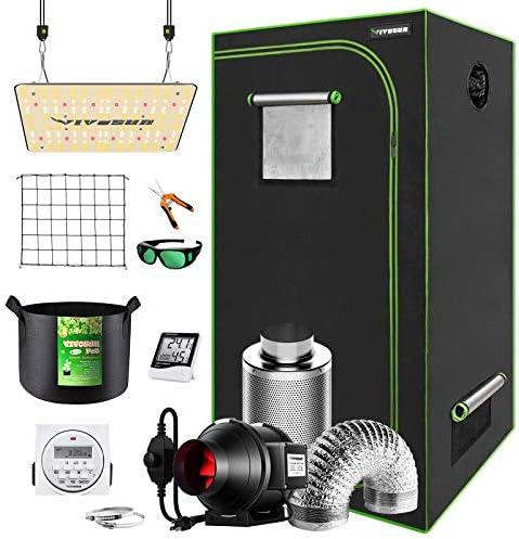 VIVOSUN Grow Tent Complete Kit 32 x32 x64 Growing Tent with VS1000 Led Grow Light 4 Inch 190CFM product image