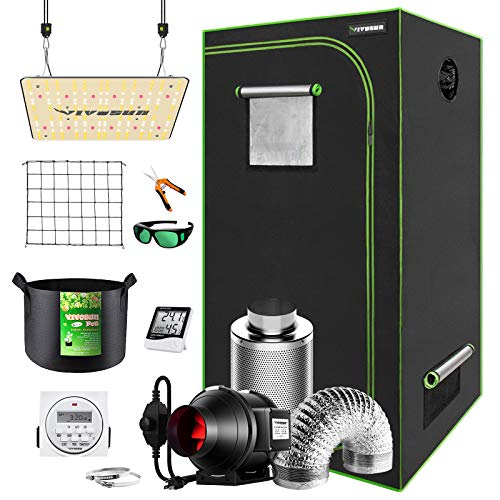 VIVOSUN Grow Tent Kit Complete, 24'x24'x48' Grow Tent Complete System with VS1000 Led Grow Light, 4 Inch 190CFM Inline Fan, Carbon Filter and 8ft Ducting Combo
