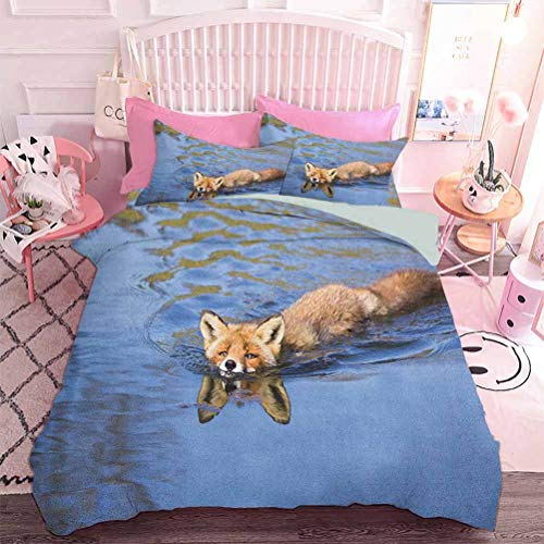 Home Decor Textile Cute Fox Swimming in Blue River Natural Life Mammal Wild Animal Image Print (3pcs, Queen Size) 1 Duvet Cover and 2 Pillowcovers