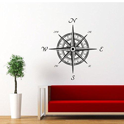 Wandtattoo Kompass Windrose Navigator Fototapete Vinyl Aufkleber Schlafzimmer Dekoration für Zuhause Junge Nautische Kinderzimmer Wandsticker Wandbilder Wandaufkleber Wand Sticker Badezimmer