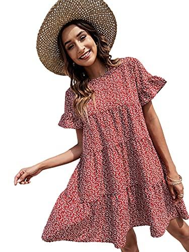 Floerns Women's Cute V Neck Ruffle Sleeve Babydoll Swing Dress Red Floral XL