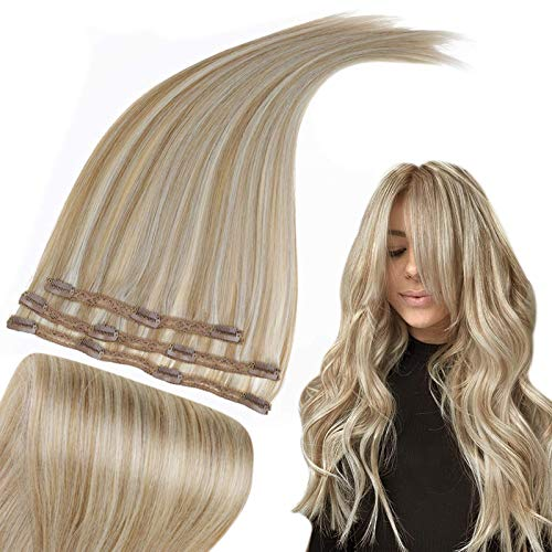 RUNATURE Echthaar Extensions Clip in Haarverlängerung 40cm 16 Zoll Dunkelblond Gemischt mit Platinblond Haarteil 50g 3 Stück Clip in Extensions Echthaar