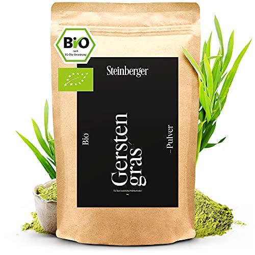 Bio Gerstengras Pulver 1000g biozertifiziert aus Bayern | 100% naturrein und frisch | Im wiederverschließbaren Standbeutel | Ideal für Smoothies