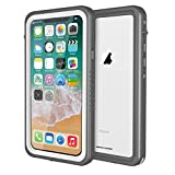 iPhone X/Xs Waterproof Case, ImpactStrong IP68 Certified Waterproof Snowproof Underwater Diving Full Body Cover with Built-in Screen Protector for Apple iPhone X/Xs 5.8 inch - FS White/Gray