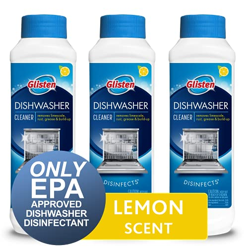 Glisten Dishwasher Cleaner & Disinfectant, Removes Limescale, Rust, Grease and Buildup, All-Natural, Fresh Lemon, 3-Pack (DM06N)