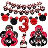 Minnie - Decoración de 3er cumpleaños para fiestas, color rojo y negro,...
