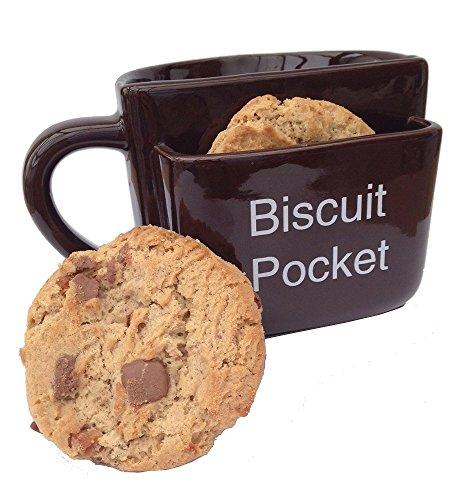Tazza con tasca per biscotti, grande, marrone, con scritta in lingua inglese 'Biscuit Pocket'