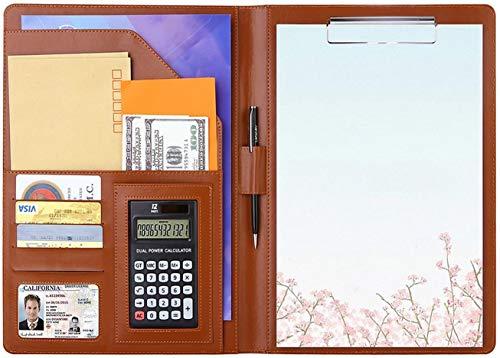 【OHGAYA】 A4 ファイル クリップボード 二つ折り 12桁電卓付き シックブラウン