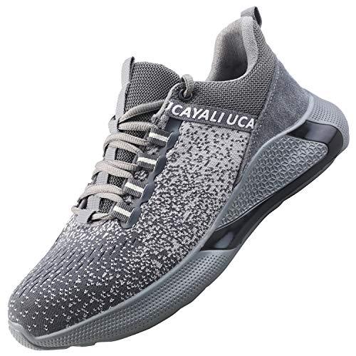 UCAYALI Zapatos de Seguridad Hombre Trabajo Comodos Ligeros Transpirables Zapatillas Trabajo Seguridad Deportivo Punta de Acero para Electricista Soldador Construccion Verano(017 Gris, 44 EU/270) ⭐