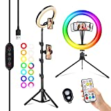 2NLF Aro de Luz con Tripode 10' RGB Anillo de Luz LED con Más Estable Trípode Soporte 53' Altura Regulable 26 Colores 10 Brillos Regulables Control Remoto para Selfie Maquillaje Youtube TIK Tok Live