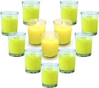 LA BELLEFÉE Citronella Candles 12-Pack Votive Citronella Candles(Clear Glass)