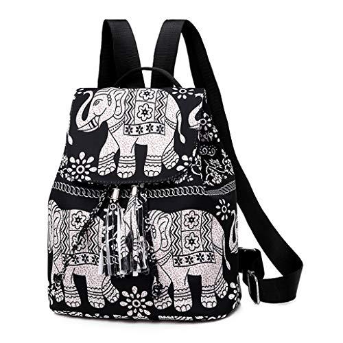 Mochila feminina W-FGHT com estampa de nylon e cordão para decoração de franjas, mochila de viagem para lazer, 2, One Size