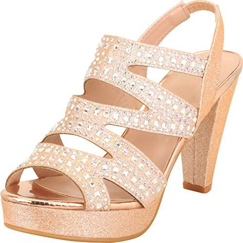 Cambridge Select Women's Open Toe Cutout Caged Crystal Rhinestone Slingback Chunky Platform High Heel Sandal, 10 B(M) US, Rose Gold Glitter