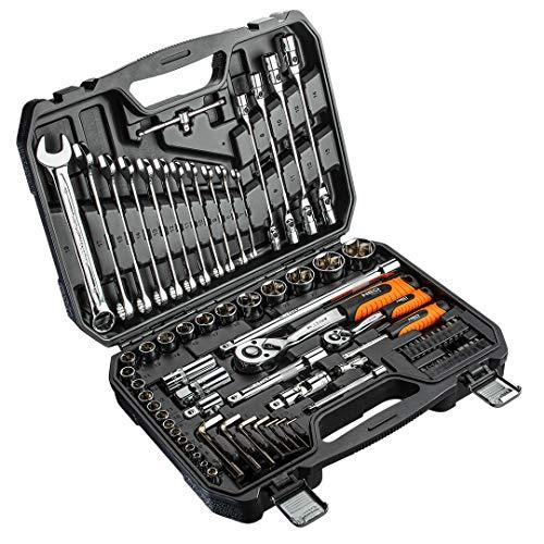 Juego de llaves tubulares de 1/4' y 1/2', 77 piezas en práctico maletín de herramientas, acero al cromo vanadio especial